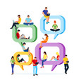 people sit on speech bubbles for comment and chat vector image