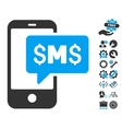 Phone SMS Flat Icon With Tools Bonus vector image vector image