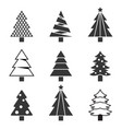 pine tree set silhouette icon vector image vector image