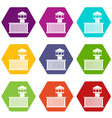 prison tower icon set color hexahedron vector image vector image