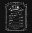 restaurant menu vintage hand drawn blackboard vector image