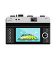 retro digital photo camera with landscape on vector image vector image