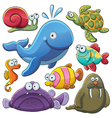 Sea Animals Collection vector image vector image