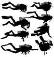 Set black silhouette scuba divers vector image vector image