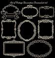 Set of vinatge frames on blackboard vector image vector image