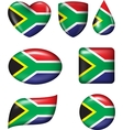 South African Flag in various shape glossy button vector image