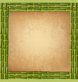 square green bamboo sticks border frame with worn vector image vector image