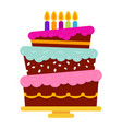 sweet birthday cake with five burning candles vector image vector image
