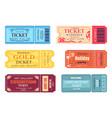 theatre cinema ticket best party gold welcome set vector image vector image