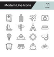 travel icons modern line design set 11 vector image