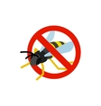 Warning sign with wasp icon isometric 3d style vector image vector image