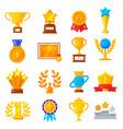award trophy icon set vector image