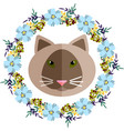 a cat and blue floral wreath vector image