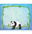 a panda with framed bamboo tree at the back