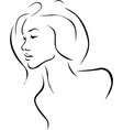 Beautiful young woman profile - black line vector image vector image