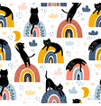 black cats and rainbows fantasy seamless pattern vector image