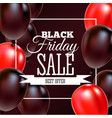 black friday sale poster with shiny balloons on vector image vector image