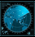 Blue radar screen with planes and world map vector image vector image