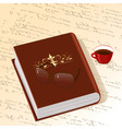 book with gold ornament with a cup of coffee vector image vector image