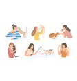 bundle pretty young girls and their cats vector image vector image