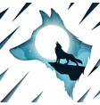 cartoon paper landscape wolf vector image vector image