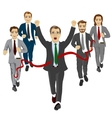 cheerful business man crossing the finish line vector image