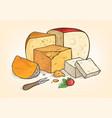 cheese hand drawn color sketch watercolor set vector image vector image
