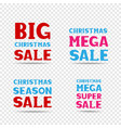 christmas sale message set vector image