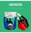 Construction banner Top view of engineer builders vector image vector image