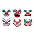 creepy clown faces isolated on white scary vector image vector image