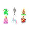 cute fairy tales characters set princess prince vector image
