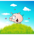 Cute pig standing on green grass - cartoon vector image