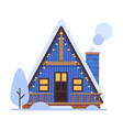 cute snowy house blue suburban cottage building vector image