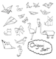 doodles set of origami vector image vector image
