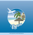 drawing island cyprus with a palm tree vector image