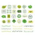 eco emblems organic logo green leaf borders vector image vector image