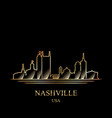 gold silhouette of nashville on black background vector image vector image