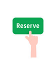 green reserve button with hand vector image vector image