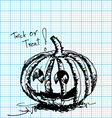 halloween pumpkin sketch on graph paper vector image vector image