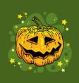 hand drawn halloween pumpkin greeting card vector image