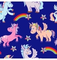 hand drawn unicorns seamless pattern blue vector image vector image