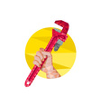 Hand Holding Wrench Circle Low Polygon vector image vector image