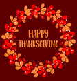 happy thanksgiving red and orange autumn wreath vector image vector image