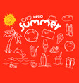 hello summer doodle elements with lettering vector image vector image
