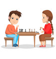 hobchildren boy and girl playing chess vector image vector image