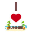 i love summer travel palm summer lounge chair vector image vector image
