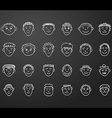 icon set 24 face man white vector image