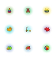 Kids fun icons set pop-art style vector image vector image