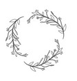 line branches with leaves and flowers decoration vector image vector image