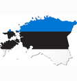 Map of Estonia with national flag vector image vector image
